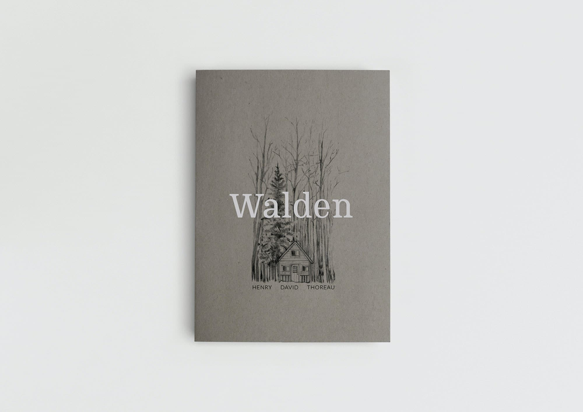 Walden book cover with Thoreau type